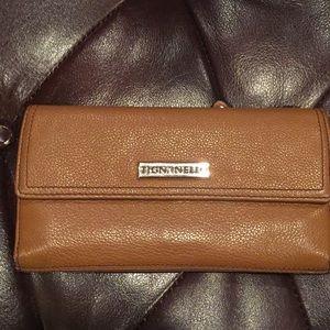 Tignanello Cognac Brown Pebbled Leather Wallet